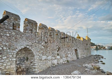 Castle wall at the port of Nafpaktos town, Western Greece