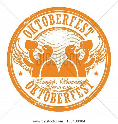 Grunge rubber stamp with beer and the text Oktoberfest written inside the stamp, vector illustration