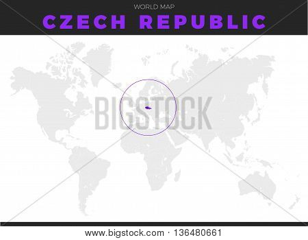 Czech Republic location modern detailed map. All world countries without names. Vector template of beautiful flat grayscale map design with Czech Republic border location