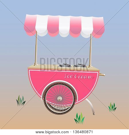Ice Cream Cart or Ice Cream stand vector illustration; Pink color designed.