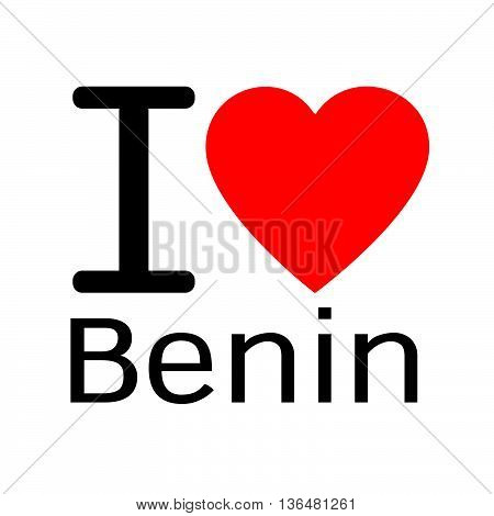 i love Benin lettering illustration design with heart sign.