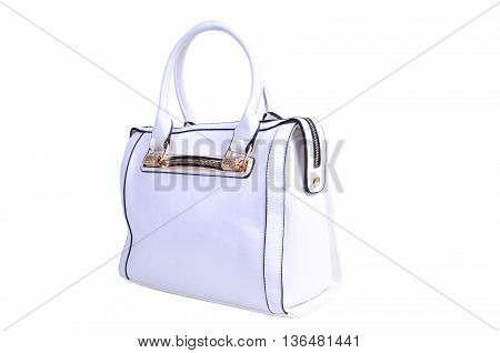 female white leatherette handbag isolated on white background