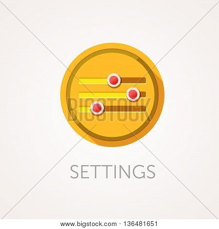 Settings Icon. Flat design style with long shadow. Tuning Adjustment configuration or customization icon. Interface controls. App icon