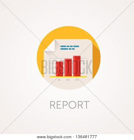 Report Icon. Flat design style with long shadow. Data statistical diagram or document icon. White file icon with histogram. App icon