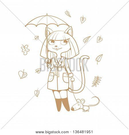 Postcard with cute cartoon  cat girl in  coat  under  umbrella and mouse. Autumn season. Rainy weather.  Falling leaves. Children's illustration. Vector contour image no fill.