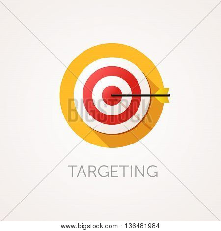 Targeting Icon. Flat design style with long shadow. Business aim target or goal icon. Round target with arrow. App icon