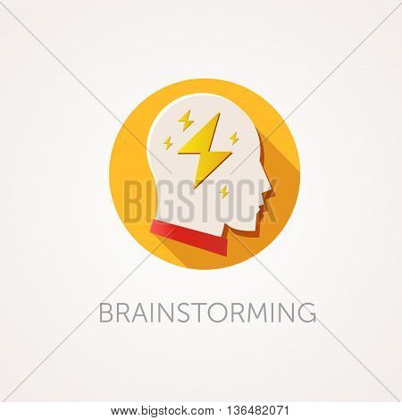 Brain Storming Icon. Flat design style with long shadow. Creative idea thinking or brain storm icon. Man head with flash. App icon