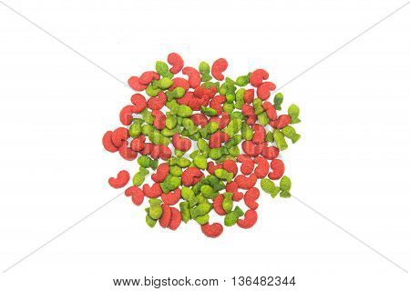Dry food for cats or dogs isolated on white background