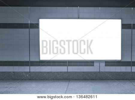 Blank Horizontal big poster in subway station