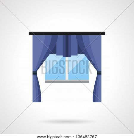 Blue silk curtains with drapery lambrequin. Modern textile interior design for home and hotel, cafe and studio. Flat color style vector icon.