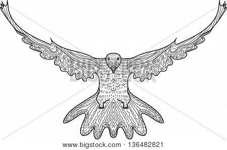 Bird dove flying eagle doodle hand drawing doodles style. Dove in zentangle style. Vector illustration.