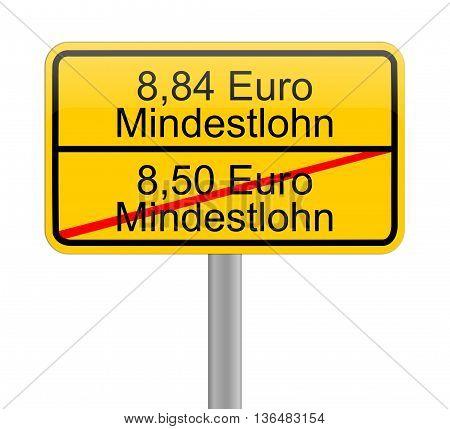 8,84 Euro minimum wage - in german - iilustration