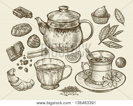 Drinks and food. Hand-drawn tea, coffee, teapot, cup, chocolate, candy croissant dessert Sketch vector illustration