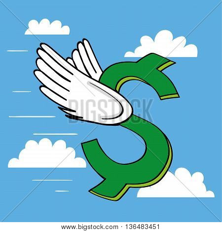 A dollar sign with wings flying through the sky as a metaphor for the value of the currency and performance of the USA economy