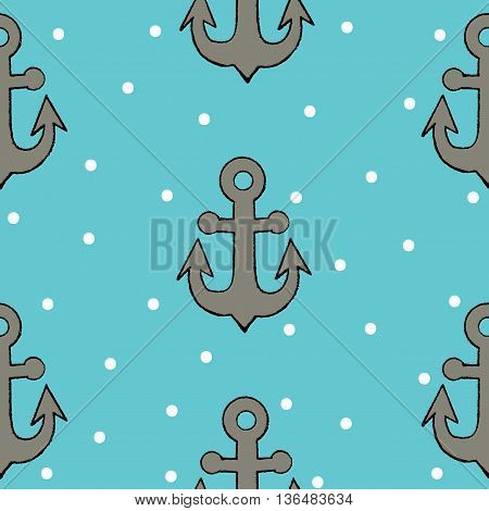 Seamless with anchor in black line style on the blue background