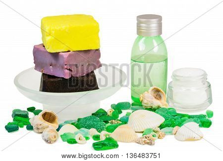 Soap bar sea salt minerals and bottle with aroma essential oil isolated on white background. Spa treatment
