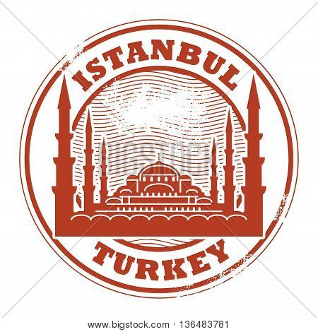 Grunge rubber stamp with words Istanbul, Turkey inside, vector illustration