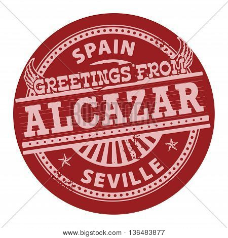 Grunge color stamp with text Greetings from Alcazar, Spain, vector illustration