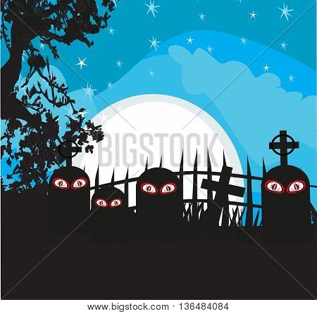 Halloween landscape with cemetery at night , vector illustration