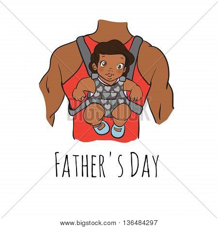 fathers day card, cartoon doodle style. vector illustration. african baby sitting on daddy s back. father with daughter. hand drawn picture. fathers day