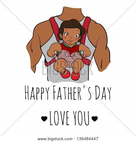 fathers day card, cartoon doodle style. vector illustration. african baby sitting on daddy's back. father with daughter. hand drawn picture. fathers day