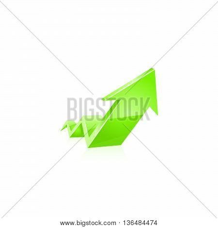 Green glossy arrow icon. Vector illistration on white