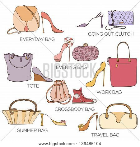 Set of women bags ans shoes. Card can be used for holiday cards, shopping invitation, postcard or fashion website banner. Bag shop design. Fashion shoes store concept.