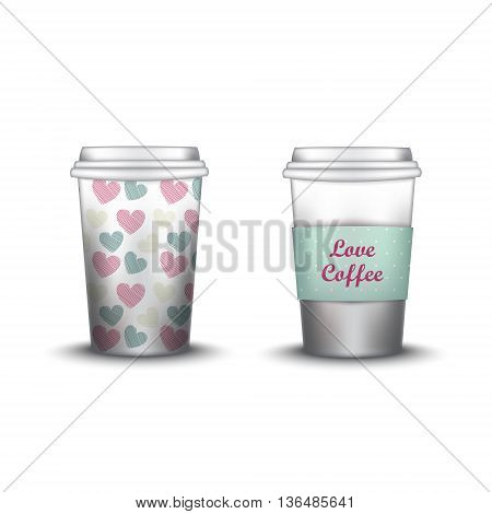 template paper cup for coffee and tea with the texture paper cup template for soda or cold beverage, isolated on white background. Packaging collection. Vector illustration. Mockup. hearts swatch inside