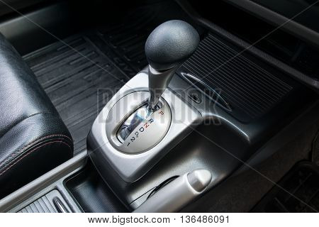 Car interior. Automatic transmission gear shift. interior, car, stick,