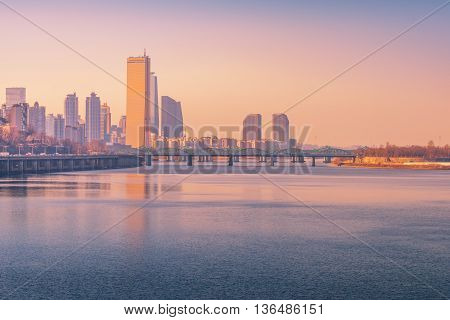 Sunset At Seoul City And Hanriver In Seoul, South Korea