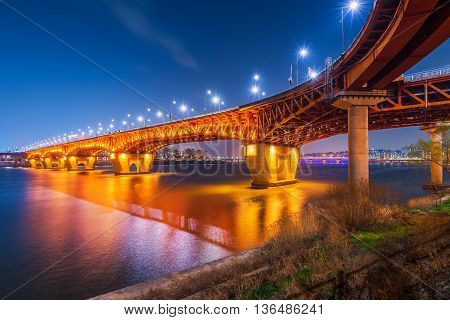 Seongsu bridge at nigth in seoul korea.