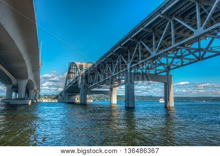 A view from beneath the I-90 bridge in Seattle Washington. HDR image.