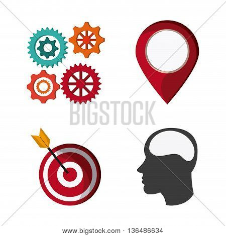 Solution and Communication concept represented by icon set over white background. Colorfull Ilustration
