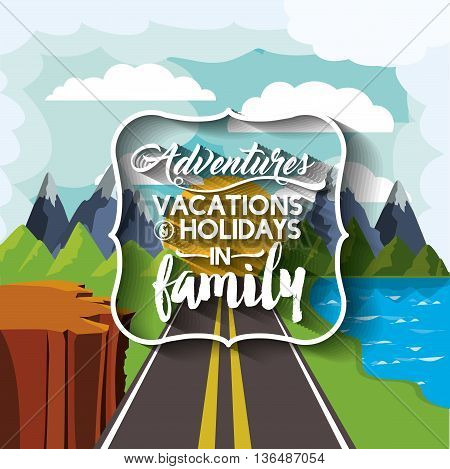 family holiday message with landscape background isolated icon design, vector illustration  graphic
