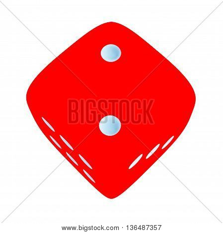 Red dice with number 2 on white background
