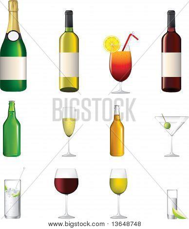 Colección de iconos muy detallada de diferentes bebidas alcohólicas