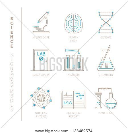 Set Of Vector Science Icons And Concepts In Mono Thin Line Style