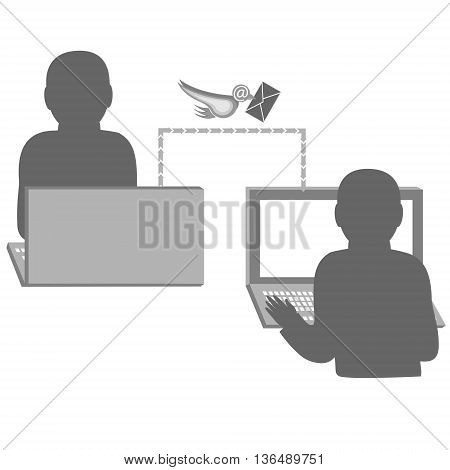 Communication between people on the Internet.Vector illustration.