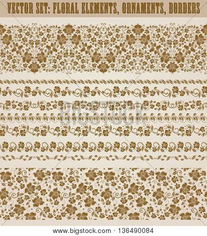 Set of lace borders for page design of invitation, greeting, wedding, gift card, certificate, diploma, voucher. Seamless damask ornament. Page decoration in vintage style. Vector illustration.