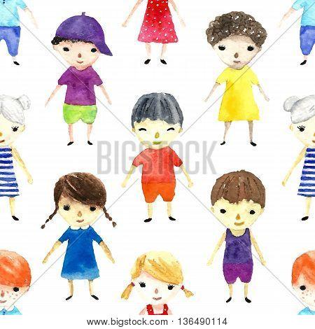 Watercolor children illustration. Seamless pattern. Vector illustrations