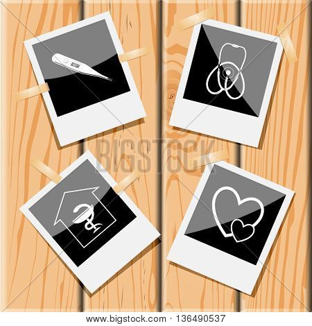 Medical set. Photo frames on wooden desk. Vector icons.