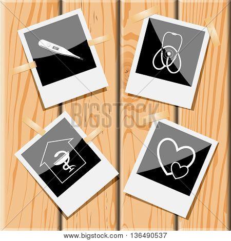 Medical set. Photo frames on wooden desk. Vector icons.