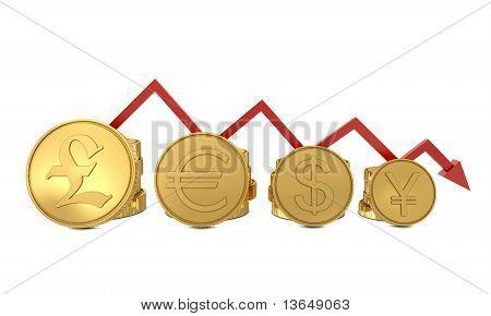 Currencies symbols in golden coins