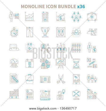 Mono Line Vector Icon Bundle 36 Items