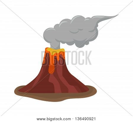 Volcano eruption stromboli with spectacular eruptions. Eruption crater mountain volcano hot natural eruption nature. Volcano erupt ash fire hill landscape outdoor geology eruption exploding ash.