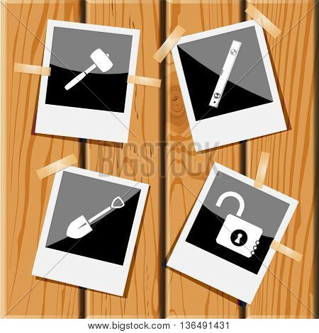 Industrial tools set. Photo frames on wooden desk. Vector icons.