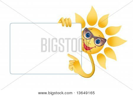 A Smiling Sun Holds Advertising