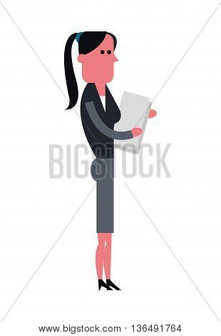 People concept represented by cartoon woman with document icon. Isolated and Colorfull illustration