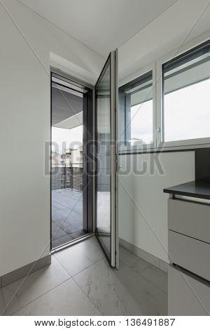 apartment, door of the balcony window open, interior