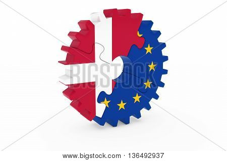Danish And European Cooperation Concept 3D Illustration